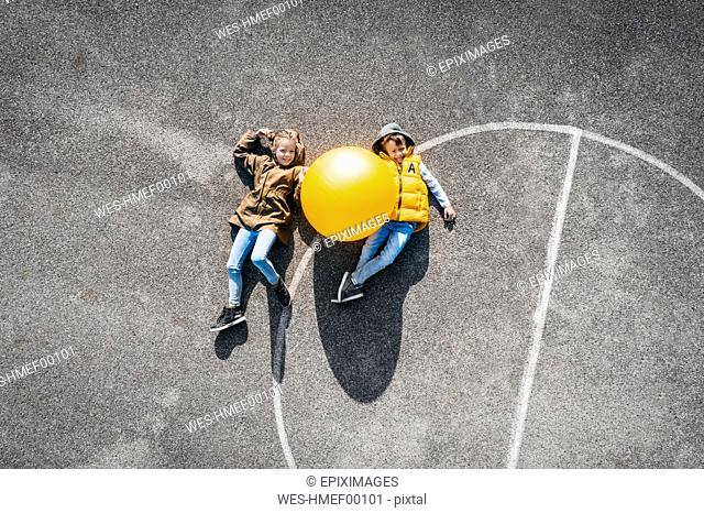 Austria, Aerial, view of basketball field with big ball