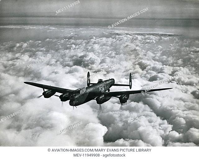 A Royal Airforce Avro 683 Lancaster III Flying over Cloud