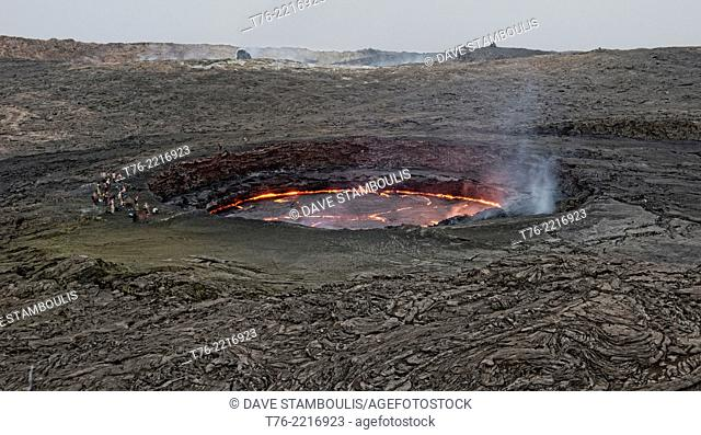 the living lava lake in the crater of Erta Ale volcano in the Danakil Depression, Ethiopia, one of only 4 existing lava lakes in the world