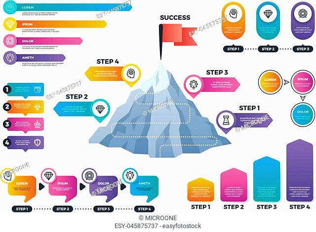 Steps to success infographics. Mountain graph with levels, achievement and mission business vector charts. Presentation graph and chart