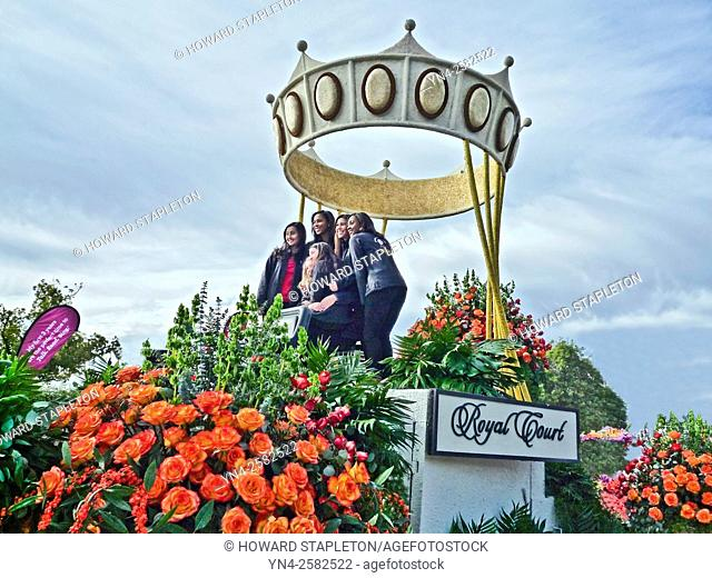 2016 Rose Parade Queen and her Royal Court pose for pictures following the parade. Pasadena, California