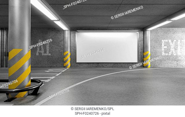 Blank horizontal big poster in an car parking garage under shopping centre. Billboard mock-up. 3D illustration