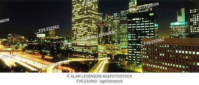 Los Angeles City Skyline with Traffic