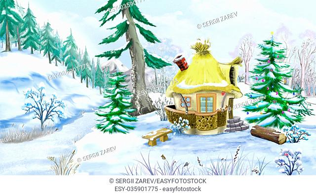 Snowman with a Christmas Tree in a Fairy Tale New Year Night. Handmade animation in classic cartoon style