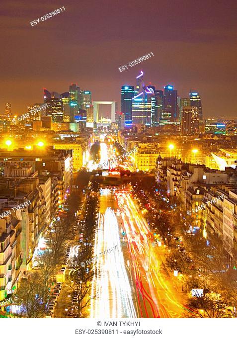 View from Arc de Triomphe towards Paris business district Defense