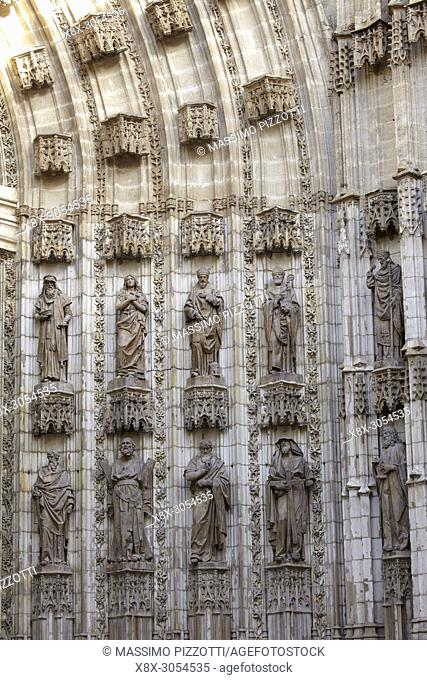 Detail of the portal of the cathedral Saint Mary of the See, Seville, Spain
