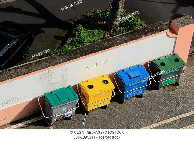 Recycling containers for organic waste, plastic, paper and glass. Ponta Delgada, Sao Miguel island, Azores, Portugal