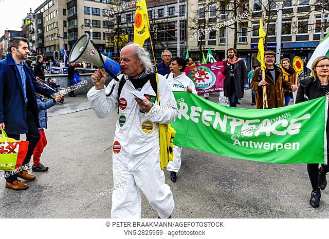 Antwerp 11-03-2017 - Six years after the Fukushima nuclear disaster will Belgians and Dutch along the streets to demand the closure of dangerous nuclear plants...