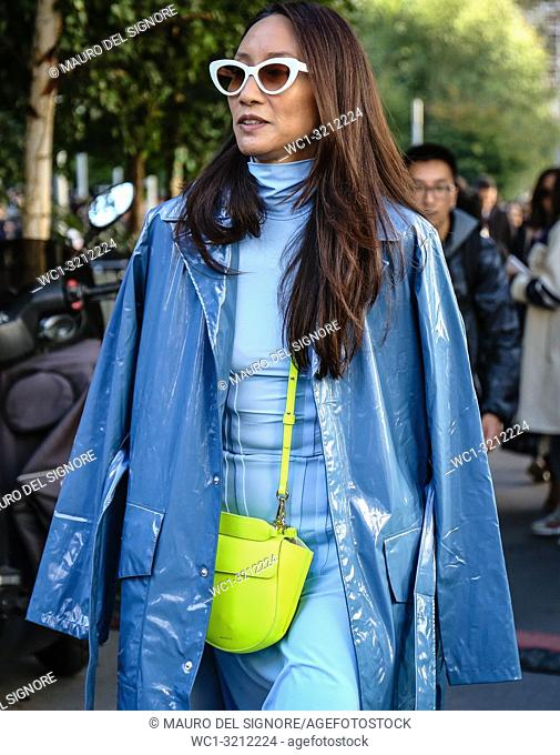 PARIS, France- September 27 2018: Elizabeth Von Der Goltz on the street during the Paris Fashion Week