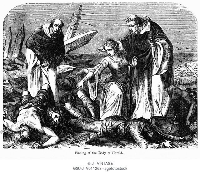 Finding the Body of Harold, Illustration from John Cassell's Illustrated History of England, Vol. I from the earliest period to the reign of Edward the Fourth