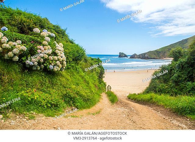 Access to Torimbia nudist beach. Niembro, Asturias, Spain