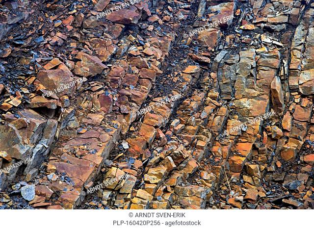 Rock formations along Gashamna / Goose Bay, Hornsund, Svalbard / Spitsbergen, Norway