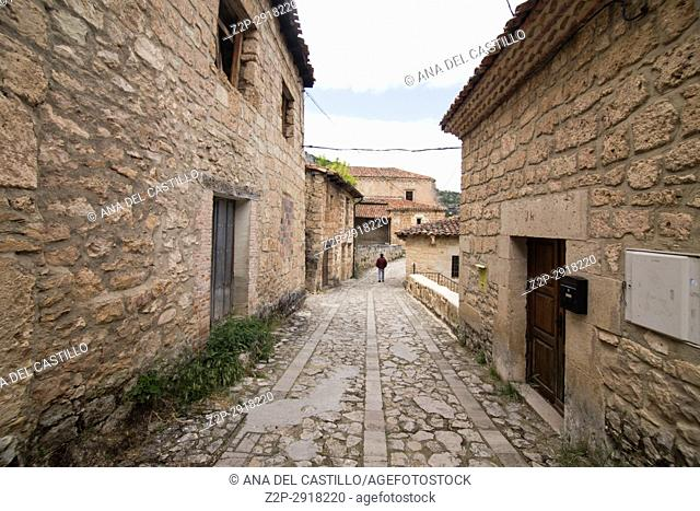 Orbaneja del Castillo is one of the most beautiful villages in Spain Burgos on July 7, 2017