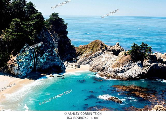 Elevated view of McWay Falls on coast, Julia Pfeiffer Burns State Park , Big Sur, California, USA