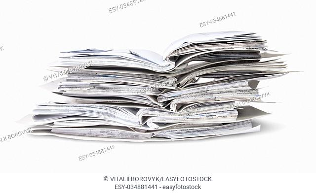 Stack Of Open Files Isolated On White Background