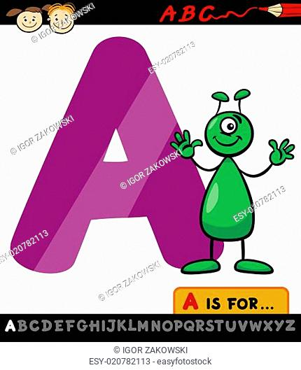 letter a with alien cartoon illustration