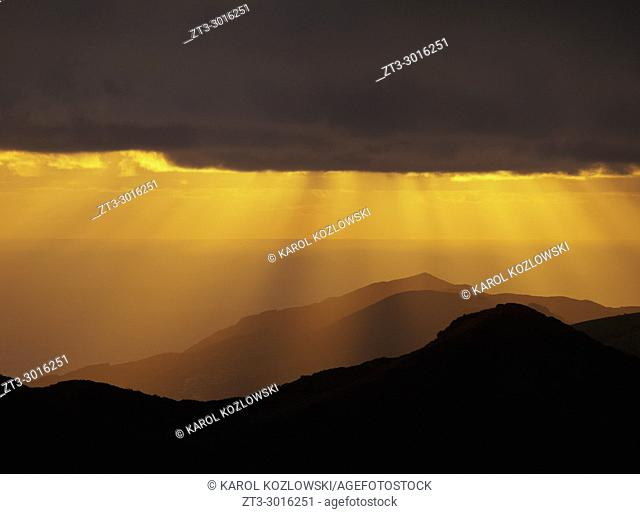 Sunset over the mountains of Sao Jorge Island, Azores, Portugal