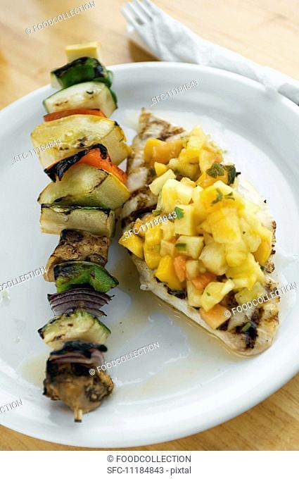 Grilled Vegetable Kebab and Fish Fillet with Fruit Salsa