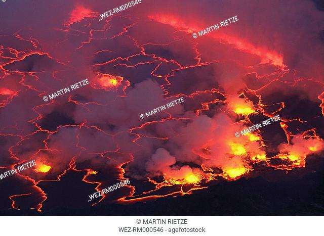 Africa, Congo, View of lava from Nyiragongo Volcano