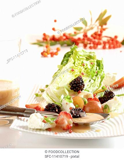 Fruity little gem lettuce with a rowan berry vinaigrette