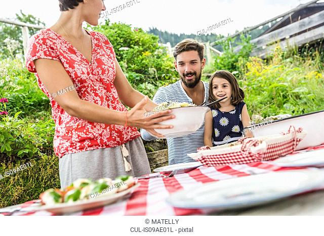 Young family sharing picnic lunch, Tyrol, Austria