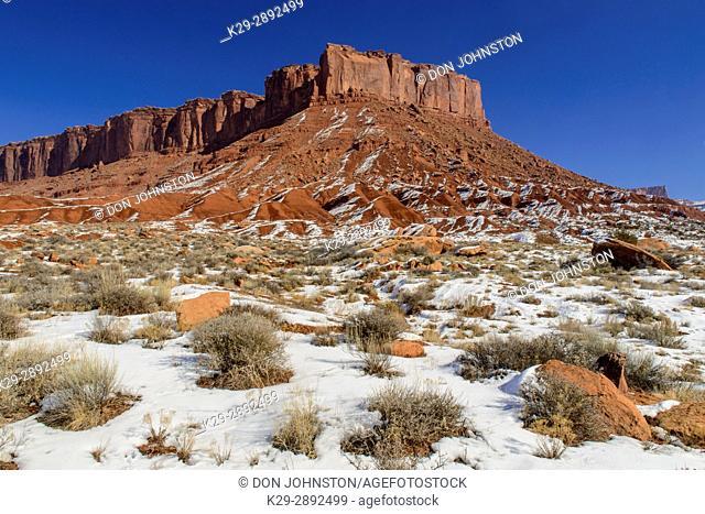 Castle Valley sandstones in winter, Castle Valley, Utah, USA