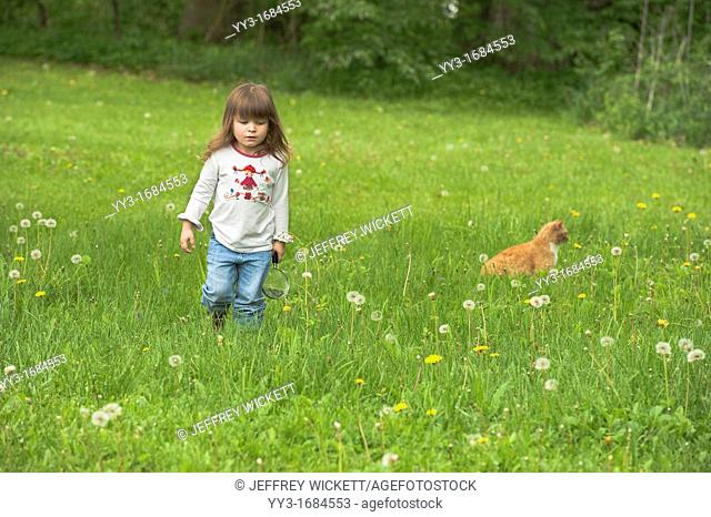 Cure girl with her cat exploring in a field in Indiana, USA