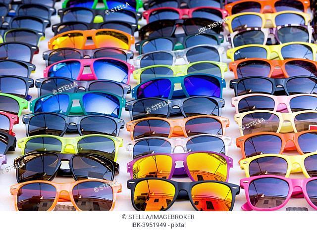 Sunglasses for sale, weekly market, Santanyi, Majorca, Balearic Islands, Spain