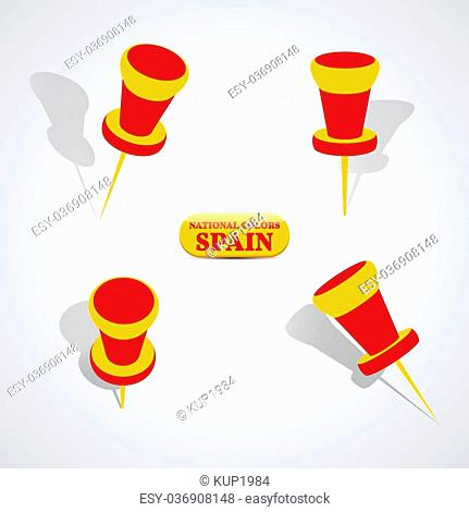 Set of pushpin in the national colors of Spain, vector illustration