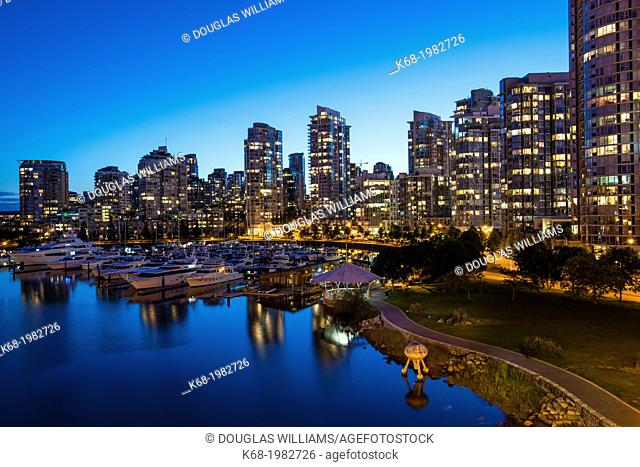 apartment buidings on the north shore of False Creek at night, Vancouver, BC, Canada