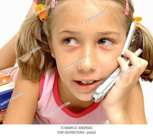 one little girl talking on the phone