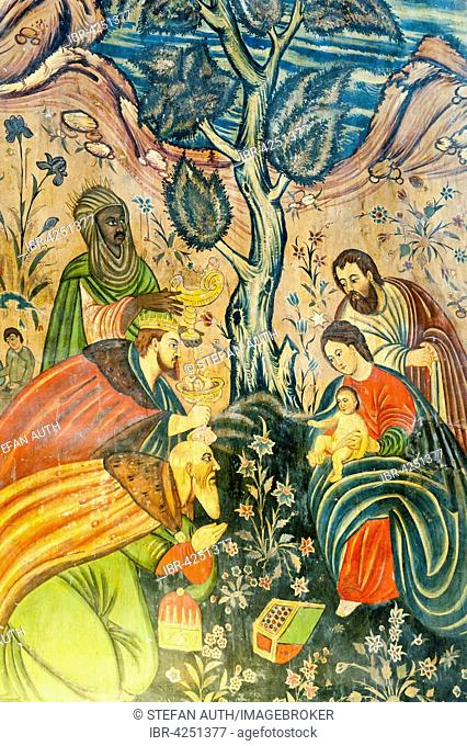 Armenian Apostolic Church, Mural, Adoration of the Magi, Jesus Christ, Mary and Joseph, the Three Wise Men give gifts, Bethlehem Church or Bedkhem Church