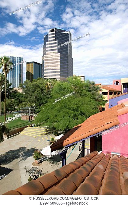 Red Tile Roof La Placita Village Downtown Tucson Arizona USA