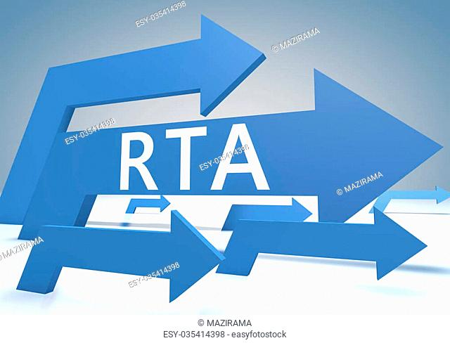 RTA - Real Time Advertising 3d render concept with blue arrows on a bluegrey background