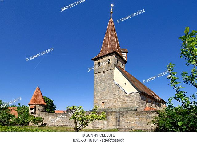 The fortress-church St. Georg of Effeltrich, Frankonia, Bavaria, Germany