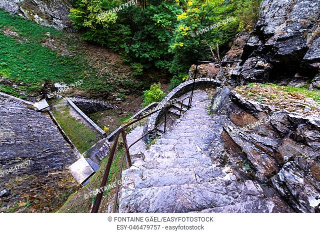 Stairs of the barrage of Furan lake close to Saint Etienne
