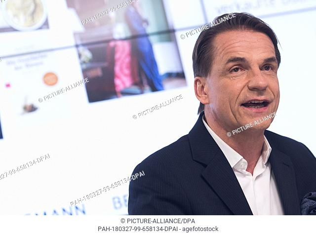 27 March 2018, Germany, Berlin: Markus Dohle, CEOof Penguin Random House, speaking during the 2017 financial statement press conference of the Bertelsmann...
