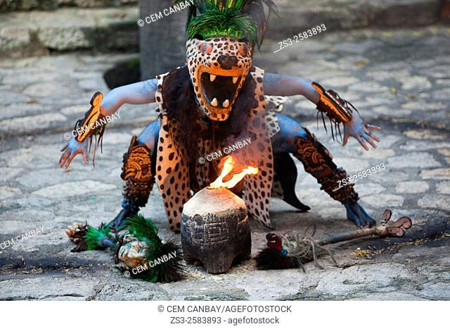Dancer performing a representative shaman ceremony of the Pre-Hispanic Mayan Culture, Xcaret, Playa Del Carmen, Riviera Maya, Yucatan Province, Mexico