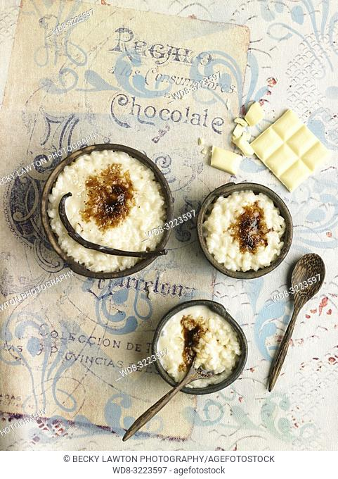 arroz con leche y chocolate blanco / rice pudding and white chocolate