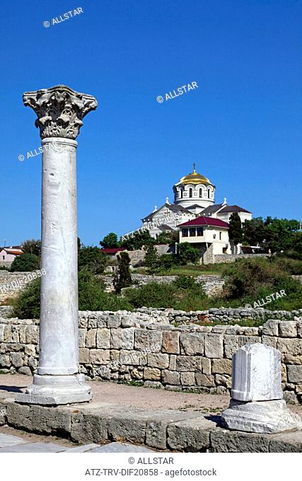 ANCIENT RUINS & SAINT VLADIMIR CATHEDRAL; CHERSONES, SEVASTOPOL, UKRAINE; 09/05/2013