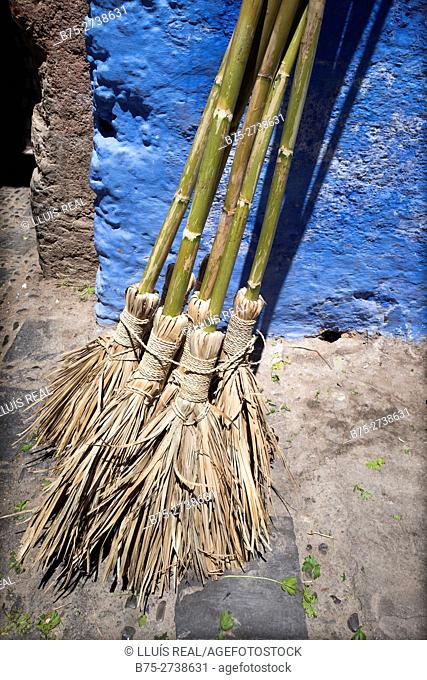 Handmade cane brooms. Chaouen, Morocco