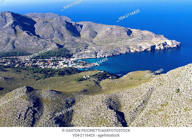 Aerial view of Cala Sant Vicenç, whit its trhee calas, Barques, Molins and Carbó, Mallorca, Balearic Island, Spain