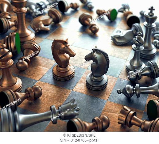 Chess pieces on chess board, illustration