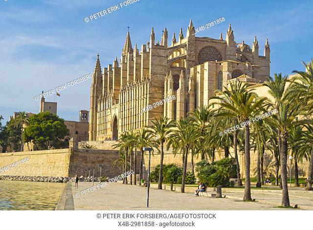 La Seu, the cathedral church, and Parc de la Mar, Palma, Mallorca, Balearic islands, Spain