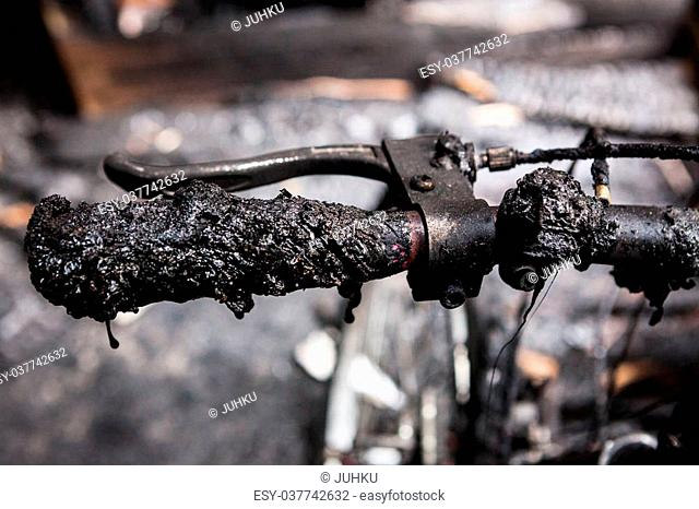 Bicycle burned handlebars detail