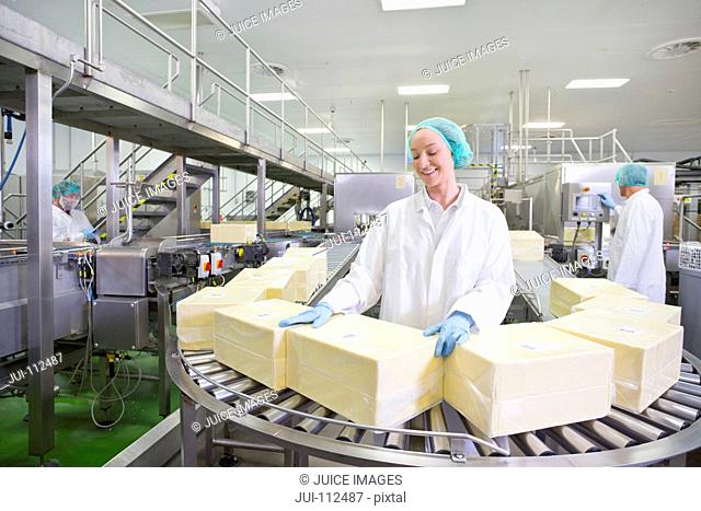 Worker with large blocks of cheese at production line in processing plant