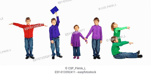 boy and girl making word TIME, collage