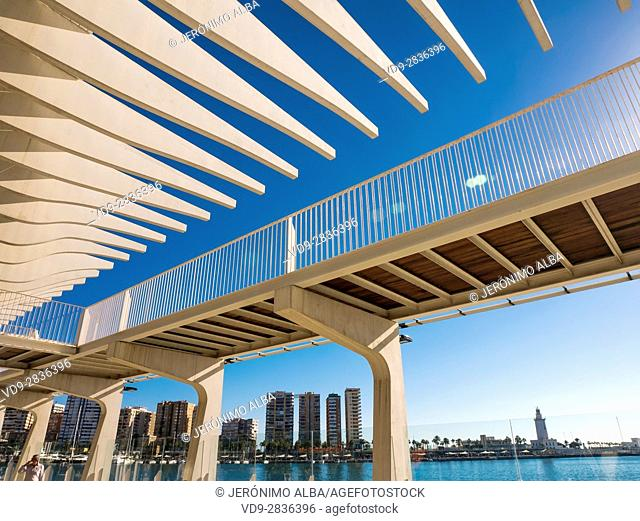 Muelle Uno (Dock One). Seaside promenade at port. Costa del Sol, Malaga. Andalusia southern Spain. Europe