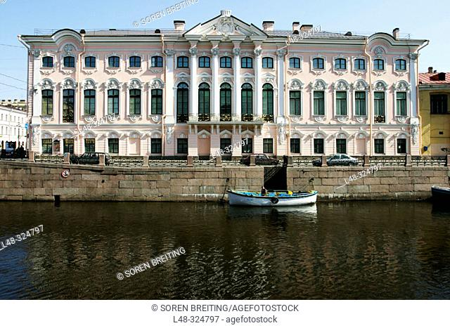 Stroganov Palace in St. Petersburg (Saint-Petersburg, former Leningrad) by Moika River. Rosy colored walls and Baroque-style architecture. Russia