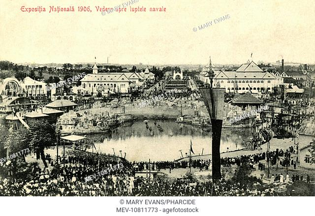 Romania - National Exhibition in Bucharest, Independence Avenue and the Lake, including a view of a battleship